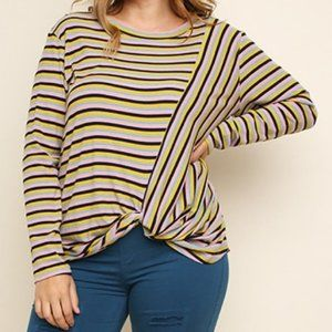 GIGIO Multicolored Striped Ribbed Long Sleeve Top